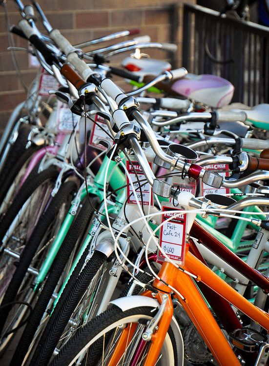 This shot shows a row of bicycles for sale.<br />