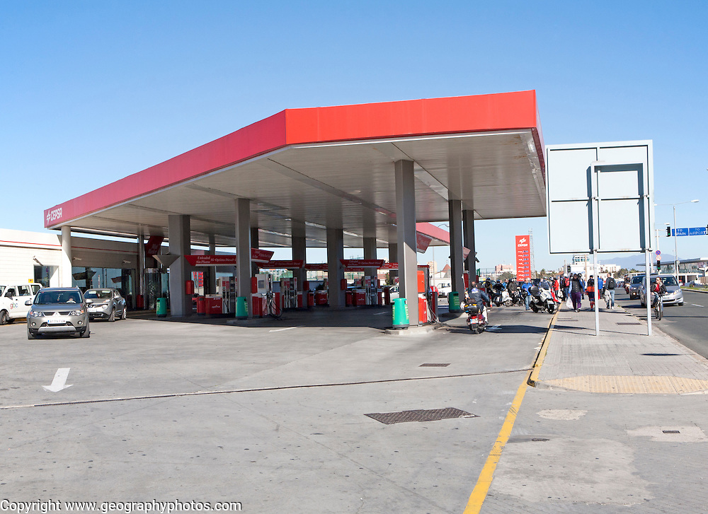 Cepsa Petrol Station on Winston Churchill Avenue, Gibraltar, British terroritory in southern Europe - this was the location where IRA gang members were killed by the SAS in 1988.