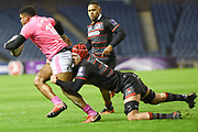 Grant Gilchrist gets hold of Jonathan Danty during the European Rugby Challenge Cup match between Edinburgh Rugby and Stade Francais at Murrayfield Stadium, Edinburgh, Scotland on 12 January 2018. Photo by Kevin Murray.
