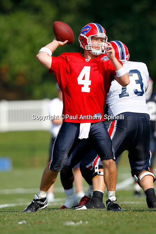NFL Buffalo Bills quarterback Brian Brohm (4) throws a pass during training camp at St. John Fisher College on August 5, 2010 in Pittsford, New York. (©Paul Anthony Spinelli)