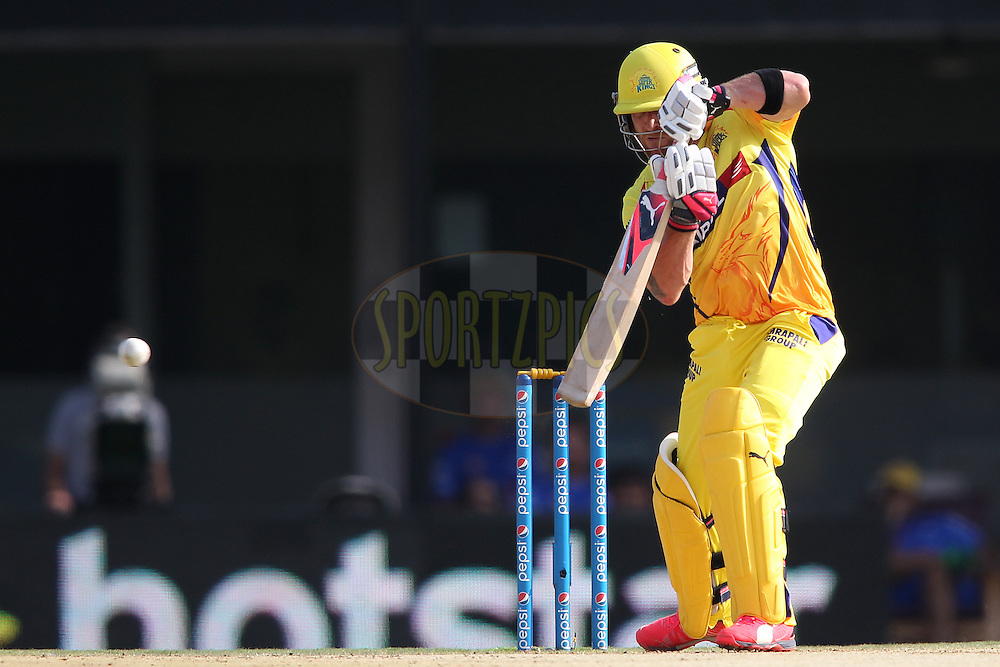 Brendon McCullum of Chennai Super Kings plays a delivery square during match 37 of the Pepsi IPL 2015 (Indian Premier League) between The Chennai Superkings and The Royal Challengers Bangalore held at the M. A. Chidambaram Stadium, Chennai Stadium in Chennai, India on the 4th May April 2015.<br /> <br /> Photo by:  Shaun Roy / SPORTZPICS / IPL