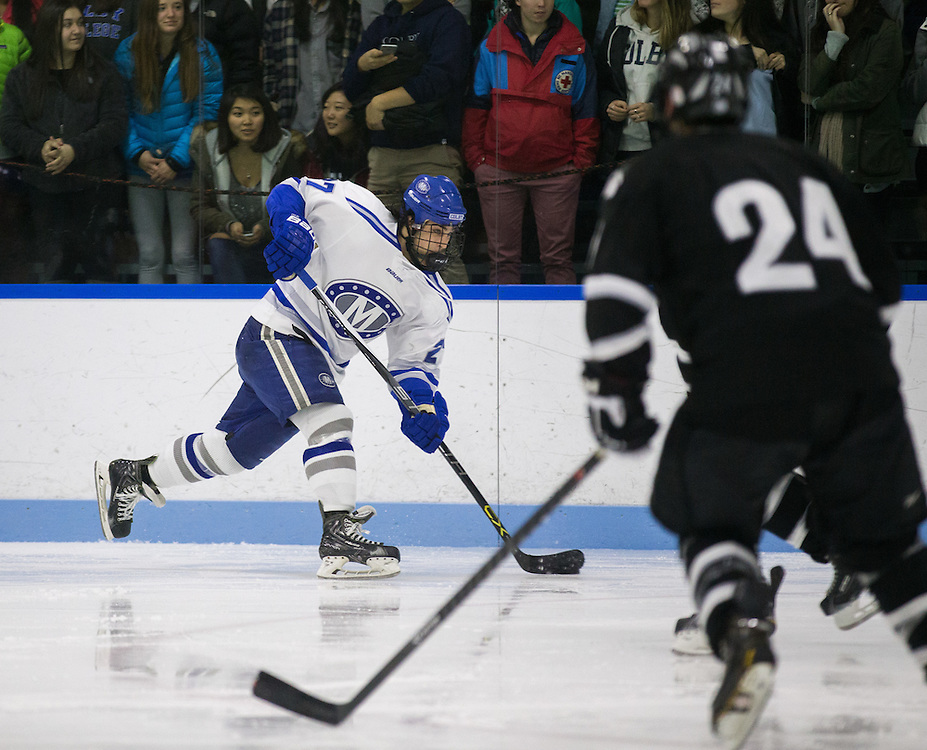 Michael Rudolf during the third period of a NCAA Division III hockey game between Colby College and Bowdoin College on December 4, 2015 at Alfond Rink on the campus of Colby College in Waterville, ME.  (Dustin Satloff)