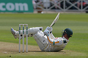 Brendan Taylor evades a short ball from Chris Rushworth during the Specsavers County Champ Div 1 match between Nottinghamshire County Cricket Club and Durham County Cricket Club at Trent Bridge, West Bridgford, United Kingdom on 28 May 2016. Photo by Simon Trafford.
