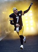 Pittsburgh Steelers quarterback Ben Roethlisberger (7) points as he comes onto the field for the NFL week 16 regular season football game against the Kansas City Chiefs on Sunday, Dec. 21, 2014 in Pittsburgh. The Steelers won the game 20-12 and clinched an AFC playoff spot. ©Paul Anthony Spinelli