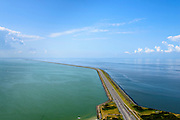 Nederland, Friesland, Kornwerderzand, 05-08-2014; Afsluitdijk gezien vanuit Friesland, richting  Noord-Holland. Links Waddenzee, rechts IJsselmeer, <br /> Enclosure Dam seen from the Frisian coast.  Left Waddenzee, IJsselmeer right.<br /> luchtfoto (toeslag op standaard tarieven);<br /> aerial photo (additional fee required);<br /> copyright foto/photo Siebe Swart.