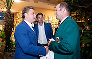(L) Marcin Matkowski of Poland and (R) John Laffnie de Jager trainer coach and captain of South Africa national team while official banquet two days before the BNP Paribas Davis Cup 2013 between Poland and South Africa at MOSiR Hall in Zielona Gora on April 03, 2013...Poland, Zielona Gora, April 03, 2013..Picture also available in RAW (NEF) or TIFF format on special request...For editorial use only. Any commercial or promotional use requires permission...Photo by © Adam Nurkiewicz / Mediasport