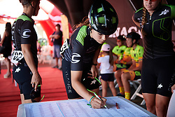 Sheyla Gutierrez Ruiz (ESP) signs on for Giro Rosa 2018 - Stage 2, a 120.4 km road race starting and finishing in Ovada, Italy on July 7, 2018. Photo by Sean Robinson/velofocus.com