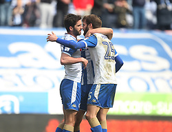 Will Grigg of Wigan Athletic (L) celebrates after scoring his sides first goal - Mandatory by-line: Jack Phillips/JMP - 30/03/2018 - FOOTBALL - DW Stadium - Wigan, England - Wigan Athletic v Oldham Athletic - Football League One