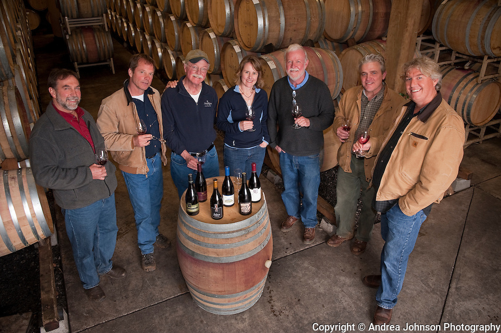 Oregon winemakers - Steve Doerner, Cristom; Mike Etzel, Beaux Freres; Terry Casteel, Bethel Heights; Lynn Penner-Ash, Ted Casteel, Bethel Heights; Ken Wright, and Laurant Montalieu, Solena
