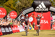 Oak Valley ( Elgin / Grabouw ), SOUTH AFRICA - Max Knox and Brandon Stewart take second place during the final stage stage seven , 7 , of the Absa Cape Epic Mountain Bike Stage Race between Oak Valley ( Elgin / Grabouw ) and Lourensford on the 28 March 2009 in the Western Cape, South Africa..Photo by Karin Schermbrucker  /SPORTZPICS