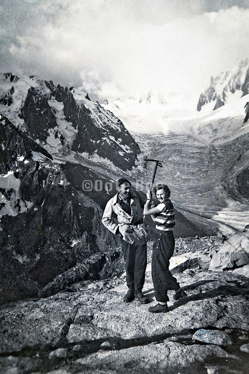 at the bottom of La Tour Ronde posing with the glacier de la Brenva in the Alps 1934