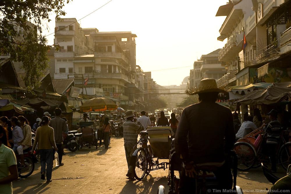 Street scenes in downtown Phnom Penh, Cambodia.