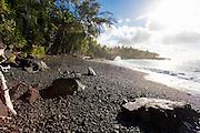Kahena Black Sand Beach, Puna Coast, The Big Island of Hawaii
