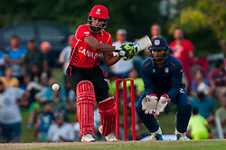 September 22, 2018 - Morrisville, North Carolina, US - Sept. 22, 2018 - Morrisville N.C., USA - Team Canada RIZWAN CHEEMA (99) in bat during the ICC World T20 America's ''A'' Qualifier cricket match between USA and Canada. Both teams played to a 140/8 tie with Canada winning the Super Over for the overall win. In addition to USA and Canada, the ICC World T20 America's ''A'' Qualifier also features Belize and Panama in the six-day tournament that ends Sept. 26. (Credit Image: © Timothy L. Hale/ZUMA Wire)