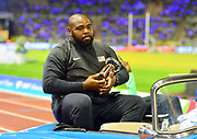 Darrell Hill (USA) poses with the IAAF Diamond League shot put trophy at the 42nd Memorial Van Damme at King Baudouin Stadium in Brussels, Belgium on Friday, September 1, 2017. (Jiro Mochizuki/Image of Sport)