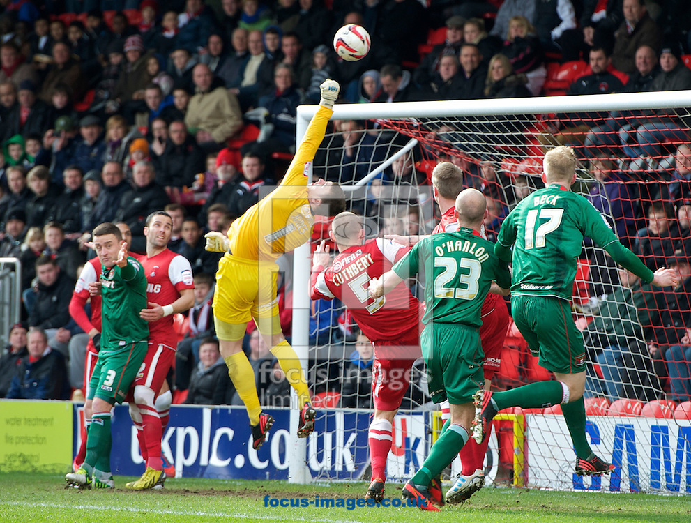 Picture by Alan Stanford/Focus Images Ltd +44 7915 056117.16/03/2013.Goalkeeper Jamie Jones of Leyton Orient makes a fine save during the npower League 1 match at the Matchroom Stadium, London..