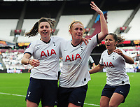 Football - 2019 / 2020 FA Women's Super League (WSL) - West Ham United vs. Tottenham Hotspur Women<br /> <br /> Lucy Quinn of Tottenham (left) with fellow scorer, Rianna Dean celebrates scoring goal no 2, at The London Stadium.<br /> <br /> COLORSPORT/ANDREW COWIE
