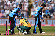 Ben Duckett of Notts Outlaws is consoled by Hamish Rutherford and Daryl Mitchell during the Vitality T20 Finals Day 2019 match between Notts Outlaws and Worcestershire Rapids at Edgbaston, Birmingham, United Kingdom on 21 September 2019.