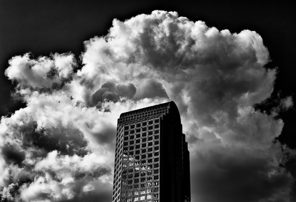 Wachovia building with dramatic clouds, uptown Charlotte