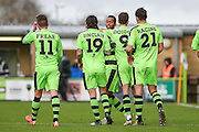 Forest Green Players Celebrate after Forest Green Rovers Midfielder, Keanu Marsh-Brown (7) makes it 2-0 during the Vanarama National League match between Forest Green Rovers and Lincoln City at the New Lawn, Forest Green, United Kingdom on 19 November 2016. Photo by Adam Rivers.