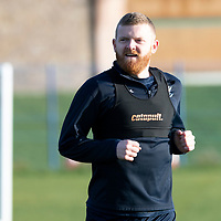 St Johnstone defender Brian Easton pictured during a running session with physio Mel Stewart after along lay off through injury..03.01.19<br />Picture by Graeme Hart.<br />Copyright Perthshire Picture Agency<br />Tel: 01738 623350  Mobile: 07990 594431