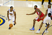 Golden State Warriors forward Andre Iguodala (9) dribbles the ball during a NBA preseason game against the Los Angeles Clippers at Oracle Arena in Oakland, Calif., on October 4, 2016. (Stan Olszewski/Special to S.F. Examiner)