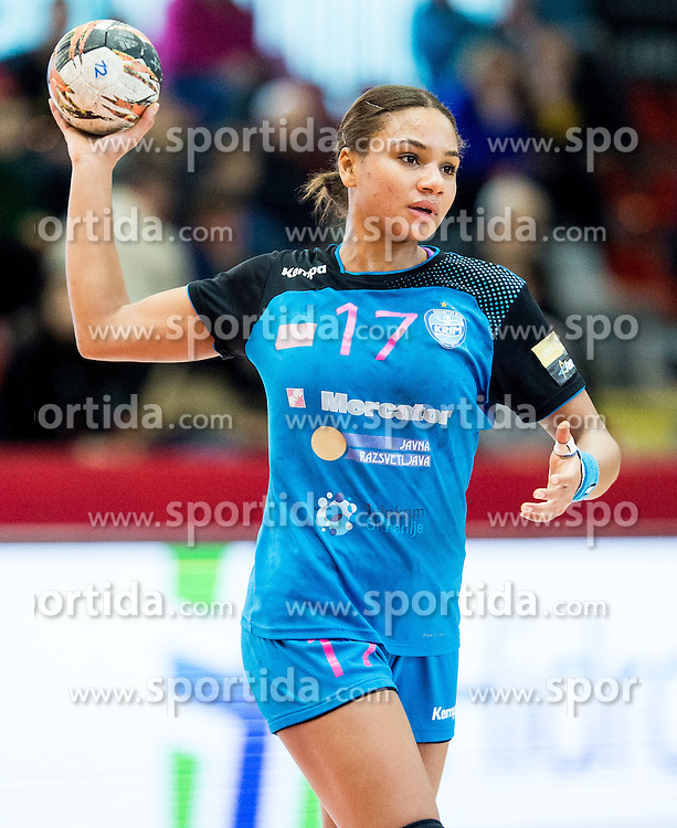 Elizabeth Omoregie of Krim during 2nd Leg handball match between RK Krim Mercator and HC Lada Togliatti (RUS) in Semifinal of Women Cup Winners' Cup 2015/16, on April 9, 2016 in Arena Kodeljevo, Ljubljana, Slovenia. Photo by Vid Ponikvar / Sportida
