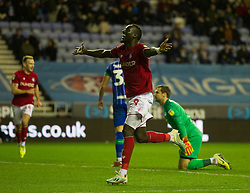 Famara Diedhiou of Bristol City celebrates after scoring his sides second goal - Mandatory by-line: Jack Phillips/JMP - 11/01/2020 - FOOTBALL - DW Stadium - Wigan, England - Wigan Athletic v Bristol City - English Football League Championship