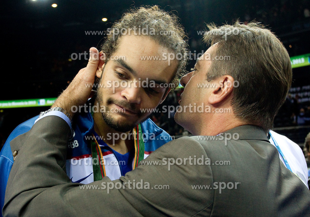Joakim Noah of France at medal ceremony after the final basketball game between National basketball teams of Spain and France at FIBA Europe Eurobasket Lithuania 2011, on September 18, 2011, in Arena Zalgirio, Kaunas, Lithuania. Spain defeated France 98-85 and became European Champion 2011, France placed second and Russia third. (Photo by Vid Ponikvar / Sportida)