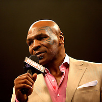 Mike Tyson is seen during the Iron Mike Productions, ESPN Friday Night Fights boxing match at Turning Stone Resort Casino on Friday, June 6, 2014 in Verona, New York.  (AP Photo/Alex Menendez)