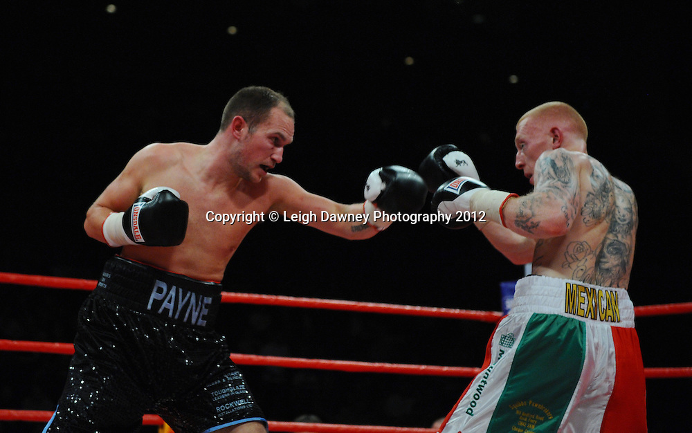 Jon Lewis Dickinson defeats Shane McPhilbin for the Vacant British Cruiserweight Title at the Echo Arena, Liverpool on 13th October 2012. Frank Maloney Promotions © Leigh Dawney Photography 2012.Sean Lewis v Ross Payne in a Welterweight contest at the Echo Arena, Liverpool on 13th October 2012. Frank Maloney Promotions © Leigh Dawney Photography 2012.