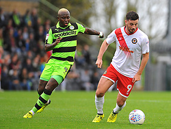 Drissa Traore of Forest Green Rovers competes with Padraig Amond of Newport County- Mandatory by-line: NizaamJones/JMP- 14/10/2017 - FOOTBALL - New Lawn Stadium - Nailsworth, England - Forest Green Rovers v Newport County - Sky Bet League Two