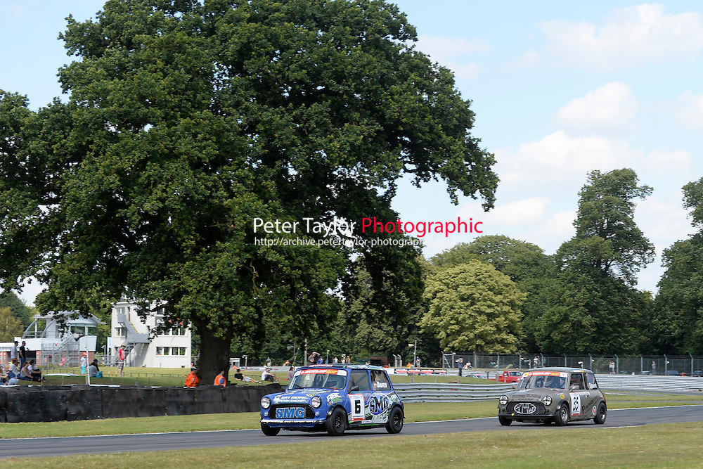 #6 Ashley Davies Mini 7 and #35 Paul Spark Mini 7 during Mini Se7en - Race 1  as part of the Mini Festival  at Oulton Park, Little Budworth, Cheshire, United Kingdom. August 08 2015. World Copyright Taylor/PSP. Copy of publication required for printed pictures.  Every used picture is fee-liable. http://archive.petertaylor-photographic.co.uk