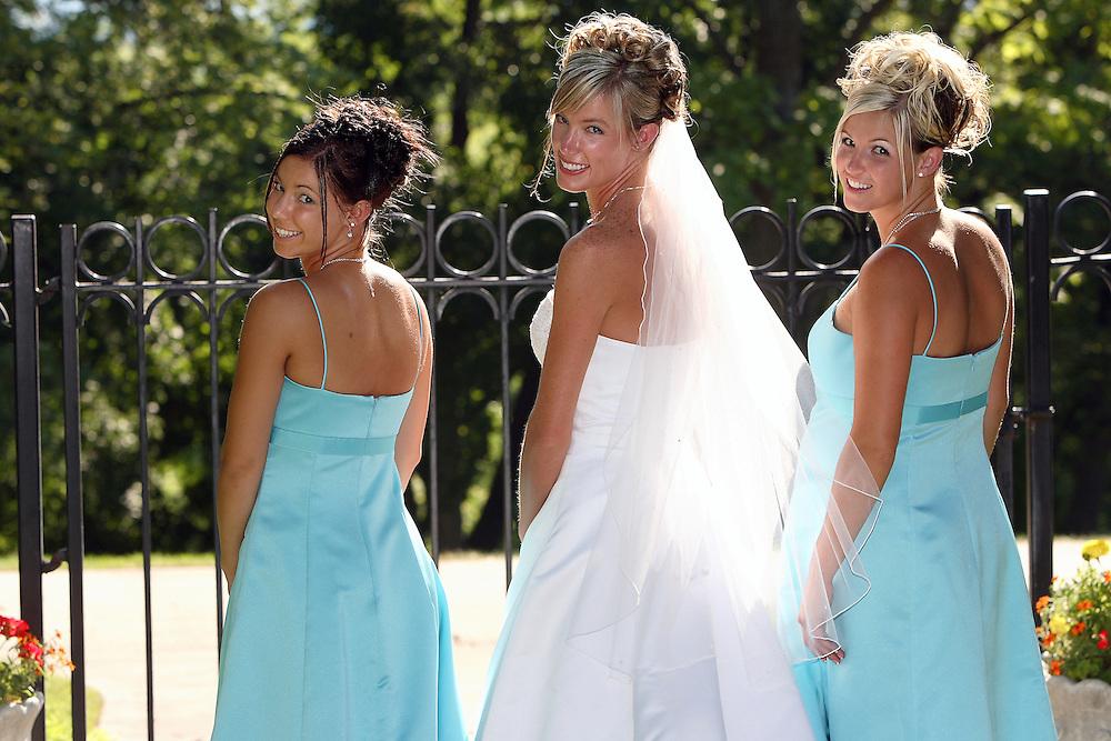 Heidi and Bradon Atkinson get married at the David B. Haight home at Utah State University in Logan, Utah on July 14, 2006. August Miller
