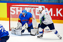 Matt Dalton of South Korea and Anze Kuralt of Slovenia during ice hockey match between South Korea and Slovenia at IIHF World Championship DIV. I Group A Kazakhstan 2019, on April 30, 2019 in Barys Arena, Nur-Sultan, Kazakhstan. Photo by Matic Klansek Velej / Sportida