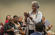 Modesta Lily is recognized for 46 years of service during a Retiree Reception at Hattie Mae White, May 11, 2017.
