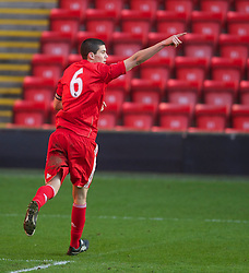 LIVERPOOL, ENGLAND - Saturday, January 8, 2011: Liverpool's captain Conor Coady celebrates scoring the third goal against Crystal Palace during the FA Youth Cup 4th Round match at Anfield. (Pic by: David Rawcliffe/Propaganda)