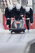 South Korea, PyeongChang - 2018 February 23: Mateusz Luty (pilot) and Lukasz Miedzik and Grzegorz Kossakowski and Arnold Zdebiak all from Poland run on the track while Bobsleigh four man Official Training Heat 5 during The 2018 PyeongChang Olympic Winter Games at Olympic Sliding Centre on February 23, 2018 in PyeongChang, South Korea.<br /> <br /> Mandatory credit:<br /> Photo by &copy; Adam Nurkiewicz<br /> <br /> Adam Nurkiewicz declares that he has no rights to the image of people at the photographs of his authorship.<br /> <br /> Picture also available in RAW (NEF) or TIFF format on special request.<br /> <br /> Any editorial, commercial or promotional use requires written permission from the author of image.