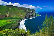 Waipio Valley and beach, Hamakua Coast, The Big Island, Hawaii USA