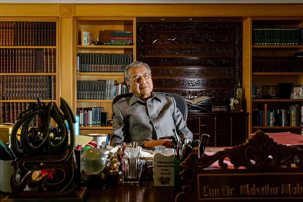 Mahatir Mohamad, Malaysia's former prime minister, poses for a photograph at the Perdana Leadership Foundation in Putrajaya on 11 April 2018. CREDIT: IAN TEH for The Wall Street Journal. SLUG: Mahatir