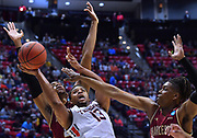 SAN DIEGO, CA - MARCH 16:  Auburn Tigers forward Desean Murray (13) shoots against forward Nick Harris (L, 23) and Charleston Cougars forward Jaylen McManus (24) during a first round game of the Men's NCAA Basketball Tournament at Viejas Arena in San Diego, California. Auburn won 62-58.  (Photo by Sam Wasson)