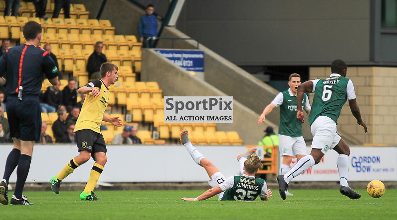Livingston v Hibernian Scottish Championship 19 September 2015;  Hibernian's Jason Cummings takes a tumble during the Livingston v Hibernian Ladbrokes Championship match played at Almondvale Stadium, Livingston;
