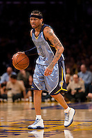 06 November 2009: Guard Allen Iverson of the Memphis Grizzles dribbles the ball against the Los Angeles Lakers during the first half of the Lakers 114-98 victory over the Grizzles at the STAPLES Center in Los Angeles, CA.