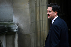 © Licensed to London News Pictures. 12/06/2012. London,Britain.Ed Miliband,Labour Party Leader arrives at the Leveson Inquiry in the Royal Courts of Justice. Photo credit : Thomas Campean/LNP..