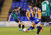 Ian Henderson shoots during the Sky Bet League 1 match between Shrewsbury Town and Rochdale at Greenhous Meadow, Shrewsbury, England on 1 March 2016. Photo by Daniel Youngs.