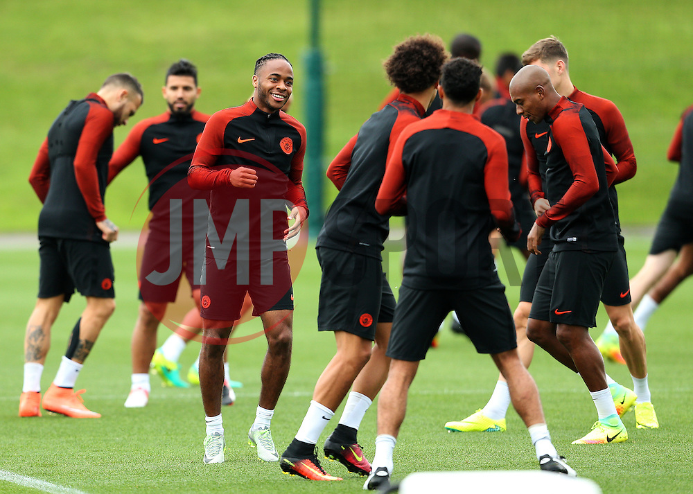 Raheem Sterling of Manchester City is all smiles during training - Mandatory by-line: Matt McNulty/JMP - 12/09/2016 - FOOTBALL - Manchester City - Training session ahead of Champions League Group C match against Borussia Monchengladbach