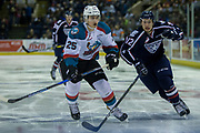 KELOWNA, CANADA - MARCH 04:  Cal Foote #25 of the Kelowna Rockets, Jordan Topping #12 of the Tri-City Americans at the Kelowna Rockets game on March 04, 2017 at Prospera Place in Kelowna, British Columbia, Canada.  (Photo By Cindy Rogers/Nyasa Photography,  *** Local Caption ***