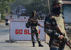October 3, 2016 - Srinagar, Jammu and Kashmir, India - Indian troopers guards outside the base camp which was attacked by suspected militants at Baramulla on Oct 03 Indian controlled Kashmir. Suspected militants attacked an Indian army camp in the Indian portion of Kashmir ensuing a gunfight on late evening on Sunday, which ended in the wee hours of Monday morning, police said. (Credit Image: © Umer Asif/Pacific Press via ZUMA Wire)