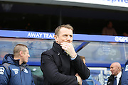 Birmingham City manager Gary Rowett in thought during the Sky Bet Championship match between Queens Park Rangers and Birmingham City at the Loftus Road Stadium, London, England on 27 February 2016. Photo by Matthew Redman.