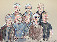 The 8 men accused of the £60 million Hatton Garden heist appear in the dock at Westminster Magistrates Court<br />